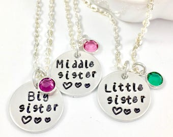 Sister necklace for 3, Sister necklace for 4, Sister necklace for 2, 3 sisters jewelry, 3 sister necklace, Matching sister necklaces, Silver