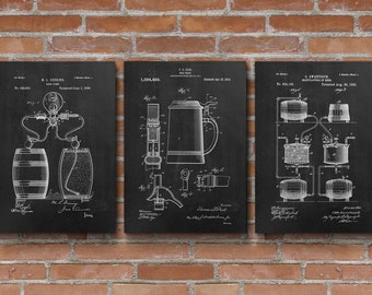 Beer Patents Set of 3 Prints, Beer Patent, Beer Brewing, Beer Posters, Beer Art, Bar Decor, Patent Posters - S004