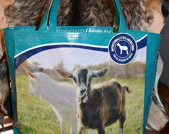 Recycled feed sack goat tote/bag/purse/shopping bag