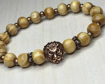 Crown Lion King,Wood Lion Bracelet,Peru Pearl Wood,Medallion Lion Leo,Mens Lion Bracelet,Jungle Lion King,Crown Lion Animal,Gift for Person
