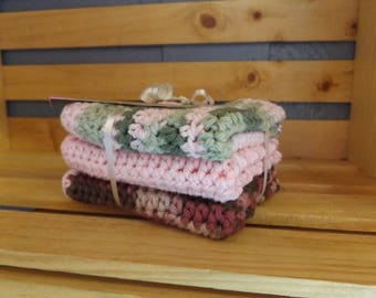 Pink Camouflage crochet cloth set of 3