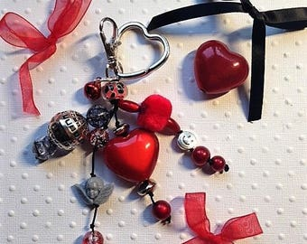 Charm bags with red and silver heart