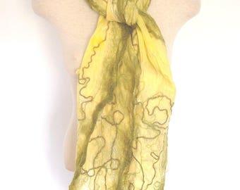 Yellow and Green Nuno Felt Scarf Women's Scarf Silk Shawl Nuno Felted Clothing Unique Handmade Wearable Art Felt Jewelry Merino Wool Wrap