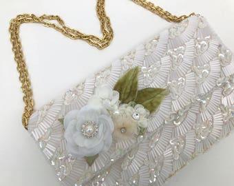 Vintage Floral Bridal Beaded Evening Bag In Ivory With Swarovski Crystals, Bridal Clutch, Evening Bag, Beaded Evening Bag, Beaded Handbag