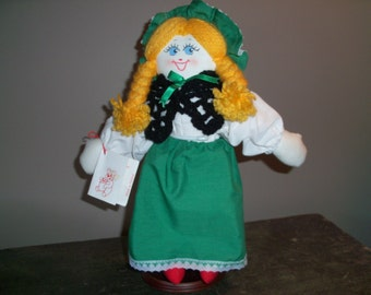 Vintage Handmade In Ireland Teddy Bear Picnic Doll with Stand