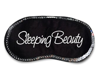 Sleeping Beauty Embroidered Eye Mask with Silver Sequins - favorite on pinterest tumblr instagram polyvore
