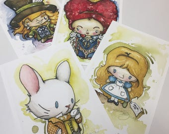Alice in Wonderland Limited Edition Archival Watercolor Prints