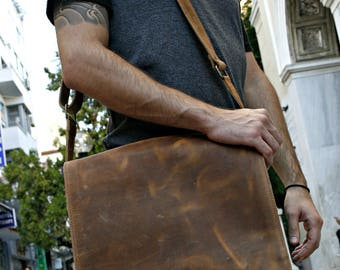 Leather Messenger Bag, Waxed Light Brown Leather, Laptop Business Bag, Leather Briefcase, Gift For Men, Gift For Him, Men bag, Brown bag
