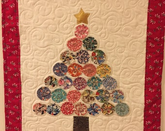 Vintage Christmas Tree Wall Art Quilt by Ellen Abshier of Laugh Sew Quilt