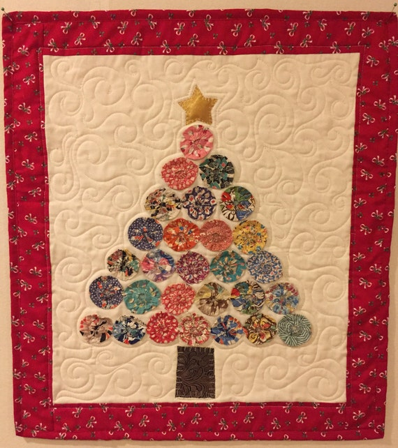 Vintage Christmas Tree Wall Art Quilt by Ellen Abshier of