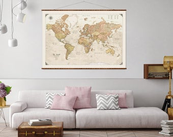 "Modern World Map, 44""x63"", Canvas Map, world map, vintage style map, antique map, map of the world, roll down map, large canvas map"