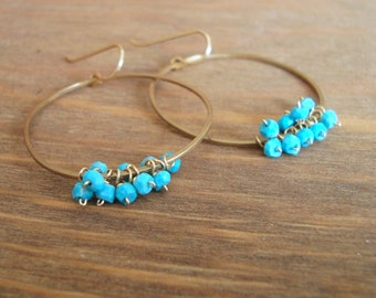 Turquoise and Bronze Cluster Hoop Earrings - Light and Airy Blue Gemstone Circles - December Birthstone, Summer Jewelry