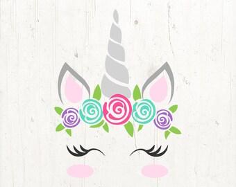 unicorn svg, unicorn eyelashes, unicorn birthday svg, floral unicorn svg, unicorn face svg, Cricut, Silhouette Cut File, SVG DXF EPS