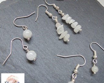 Moonstone Chip, 4mm, or 6mm Round Bead Beaded Earrings ~ Gemstone Crystal Healing ~ Handmade