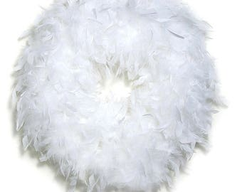 Quality White Feather Wreath