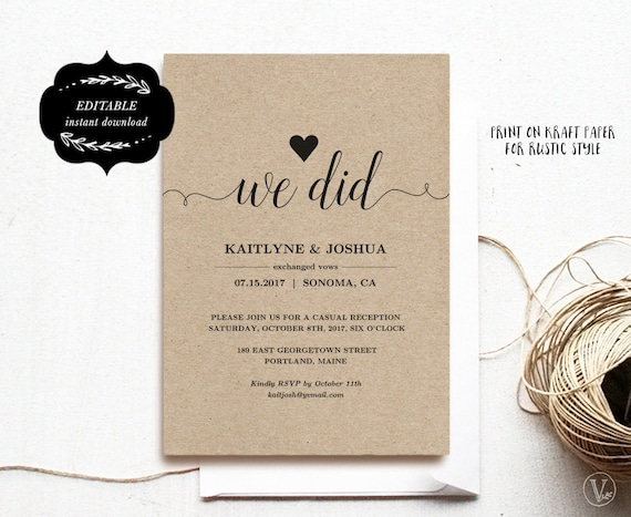 Elopement Reception Invitation Template Elopement