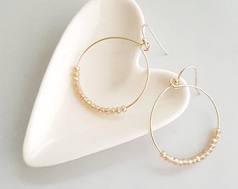 Beaded Circle Earrings, Circle Dangle Earrings, Circlel Bead Earrings, Circle Bead Dangle Earrings, Boho Dangle Earrings,Bead Dangle Earring