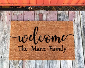 Engagement Gift for Couple. Gift for Newlyweds, Gift for Husband. Bridal Shower Gift for Bride, Newlywed Gift, Wedding Name Doormat Gift