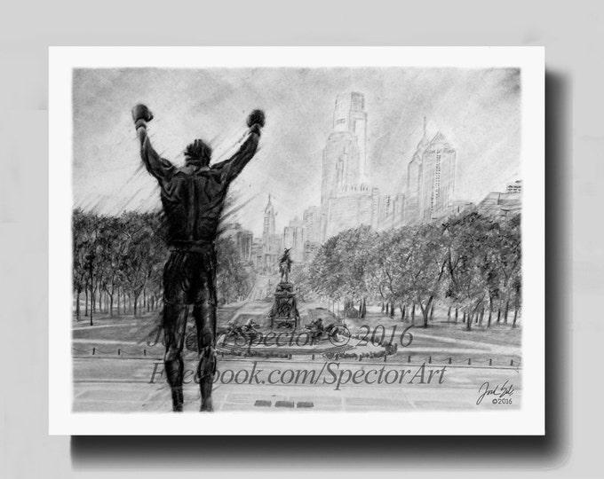 Rocky Balboa - Rocky -Canvas Print - Philadelphia Vintage - Rocky Art - Philadelphia Skyline - Rocky Painting - Rocky Steps - Philadelphia