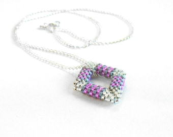 Dainty Geometric Necklace, Pink and Grey Jewelry, Open Diamond Shape, Beaded Rhombus Necklace, Beadwoven Diamond Peyote - Made in Germany