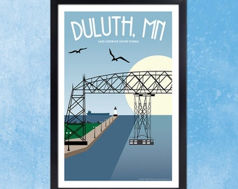 Lake Superior Shore Towns Series: Art Deco Duluth, MN Travel Print