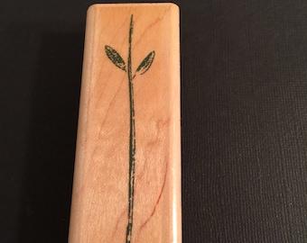 Inkadinkado Flower Stem Rubber Wood Mounted Stamp Gently Used  Card Making Scrapbooking