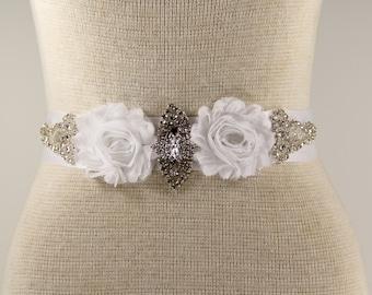 Sash, White Bridal Sash - Wedding Dress Sash Belt - Satin Sash - White Rhinestone Bridal Sash