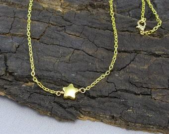 Halskette Collier Stern vergoldet