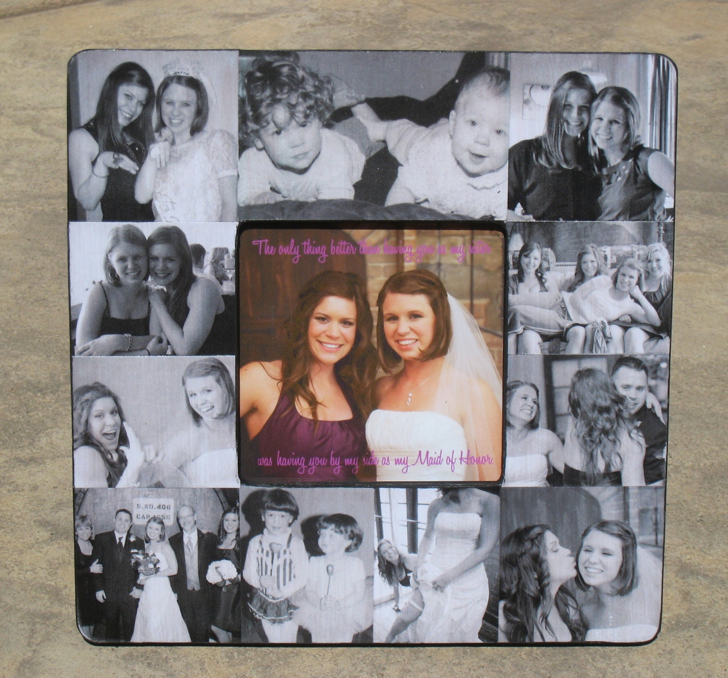 Maid of Honor Collage Picture Frame Personalized Sister Gift