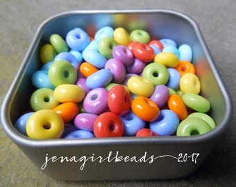 Pool Party - Essential Mini Spacers Lampwork Beads - Made To Order