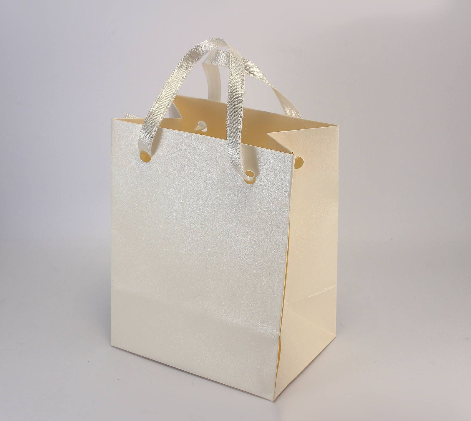 25 Paper Gift Bags - Ivory Paper Bags with handles - Birthday Party ...