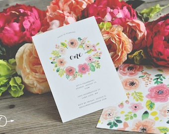 Garden Party Floral Birthday Invitations - Digital/Printable