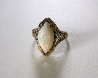 Art Deco yellow gold navette white opal floral open filigree ring size 6.25