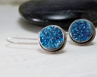 Modern Titanium Druzy Dangle Earrings Drusy Sterling Silver Earrings