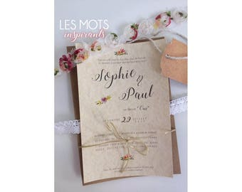 Lace and floral rustic wedding invitation