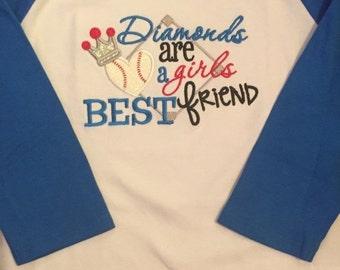 Diamonds are a Girls Best Friend Baseball Raglan Shirt or Baby Bodysuit