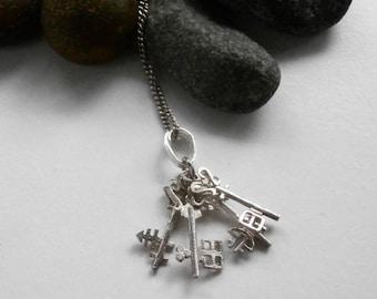 Key Necklace - Key Pendant - Silver Necklace - Repurposed - Pendant Necklace