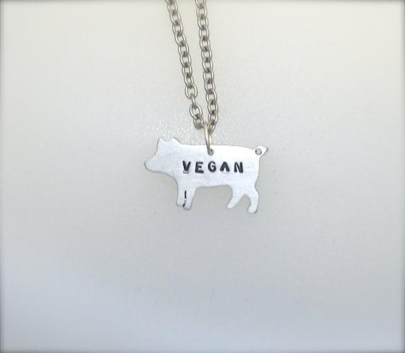 New Mini Vegan Pig Necklace-Vegan Jewelry-Vegan Gift-Vegan Necklace-Birthday-Anniversary-Recycled-Pig Lover