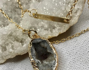 Gray Geode Druzy Natural Stone Double Gold Chain Necklace