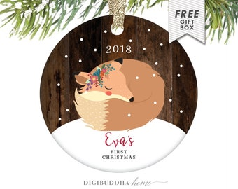Baby's First Christmas Ornament Little Fox Ornament Personalized Children's Ornament Baby Girl Ornament Rustic Faux Wood Ornament Baby Fox