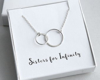 Sisters Necklace, Sister Necklace, Gift for Sister, Two Sisters Necklace, Circles Necklace, Sterling Silver Ring Necklace, Sisters Jewelry