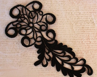 Applique Black Trim Stylish Cordwork Large 8""