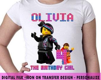 Lego Girl , Iron On Transfer , Lego Girl DIY Transfer , DIY Lego Girl Birthday Shirt , Lego Girl , Any Name , Any Age , Digital Files