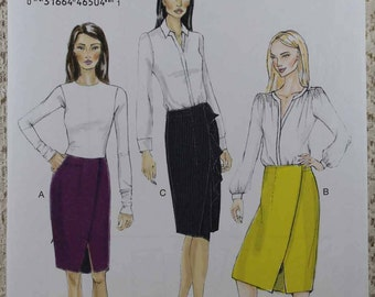 Vogue 9172, Misses' Skirt Sewing Pattern, Wrap Skirt Sewing Pattern, Misses' Size 14, 16, 18, 20, 22, Pattern is Uncut