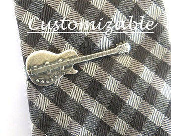 Guitar Tie Bar, Sterling Silver & Antiqued Brass Finishes, Gifts For Men, Gifts For Dad- Customizable- Personalize
