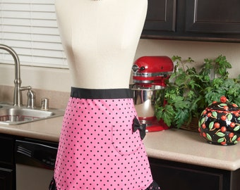 Hostess Half Apron, Ruffled Retro Polka Dot Pattern, with Pocket and Bow, OOAK