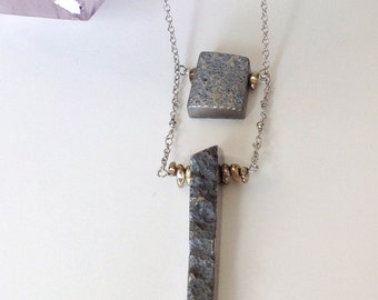 Silver stone and chain necklace