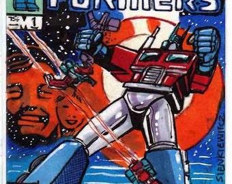 Die Transformatoren Ausgabe # 1 Abdeckung Erholung persönliche Skizze Karte Original Kunstwerk einzigartige Kunst Comics Geschenk Artikel