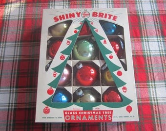 Box of Twelve Shiny Brite Christmas Ornaments Multi Colored Vintage Shiny Brites