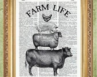 Farmhouse Decor Cow and Chickens Prints Kitchen Art Prints Farmhouse Prints